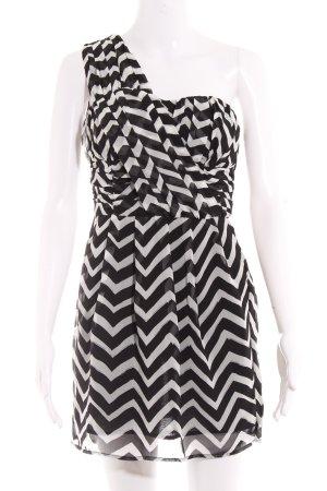 H&M A-Linien Kleid weiß-schwarz abstrakter Druck Party-Look
