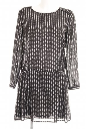 H&M A-Linien Kleid weiß-schwarz Sternenmuster Casual-Look