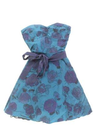 H&M Abendkleid Größe 34 mit Blumenmuster mit Gürtel Ärmellos blau