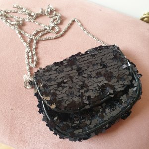H & M Abendtasche Umhängetasche Pailletten schwarz