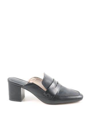 H&M Klapki na obcasie czarny W stylu biznesowym