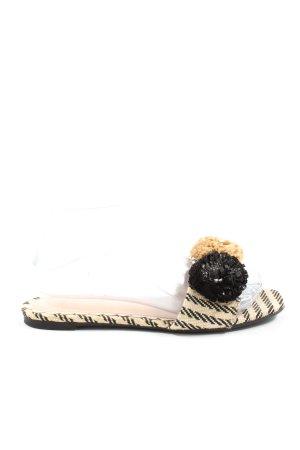 H&M Beach Sandals natural white-black striped pattern elegant