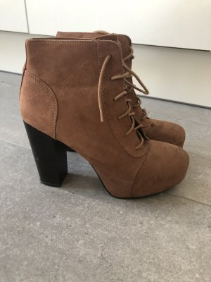 H&M Bottines à lacets brun-cognac