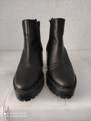 H&M Basic Botki czarny Tkanina z mieszanych włókien