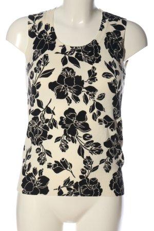 H&M ärmellose Bluse wollweiß-schwarz Blumenmuster Casual-Look