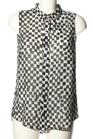 H&M ärmellose Bluse wollweiß-schwarz Allover-Druck Casual-Look