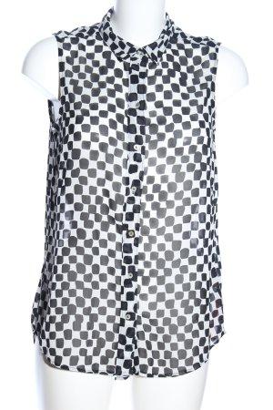 H&M ärmellose Bluse weiß-schwarz Allover-Druck Casual-Look