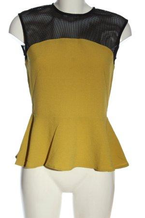 H&M ärmellose Bluse blassgelb-schwarz Elegant