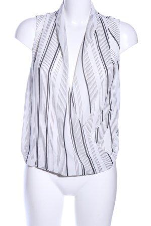 H&M ärmellose Bluse weiß-schwarz Streifenmuster Elegant