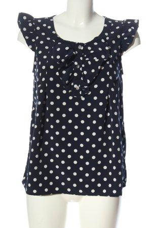 H&M ärmellose Bluse schwarz-weiß Punktemuster Casual-Look