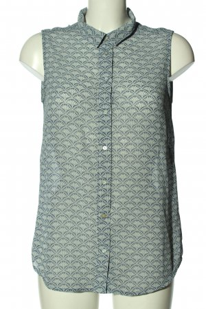 H&M ärmellose Bluse blau-wollweiß Allover-Druck Casual-Look
