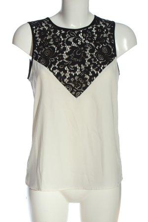 H&M ärmellose Bluse weiß-schwarz Elegant