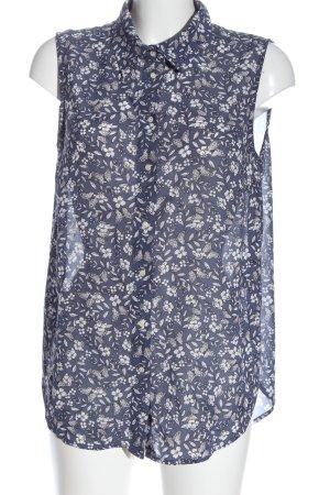 H&M ärmellose Bluse blau-weiß Allover-Druck Business-Look