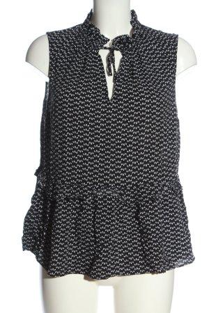 H&M ärmellose Bluse schwarz Allover-Druck Business-Look
