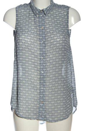 H&M ärmellose Bluse blau-weiß Allover-Druck Casual-Look