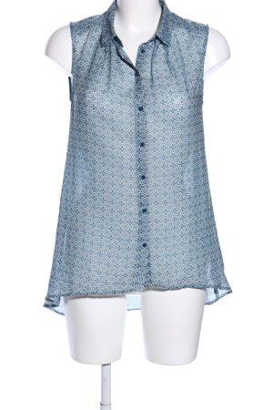 H&M ärmellose Bluse blau-hellgrau Allover-Druck Casual-Look