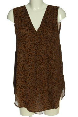 H&M ärmellose Bluse braun-schwarz Allover-Druck Casual-Look
