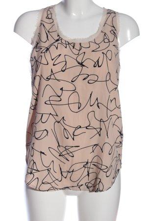 H&M ärmellose Bluse creme-schwarz Allover-Druck Casual-Look