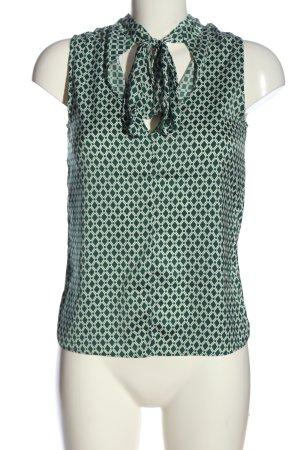 H&M ärmellose Bluse grün-weiß Allover-Druck Business-Look