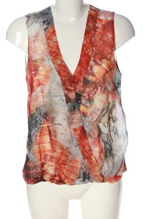 H&M ärmellose Bluse rot-hellgrau abstraktes Muster Business-Look