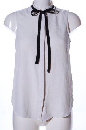 H&M ärmellose Bluse weiß-schwarz Business-Look