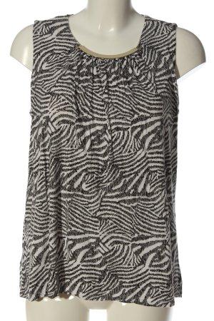 H&M ärmellose Bluse schwarz-weiß abstraktes Muster Casual-Look