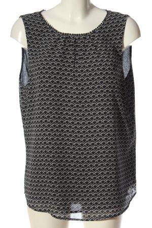 H&M ärmellose Bluse schwarz-weiß Allover-Druck Casual-Look