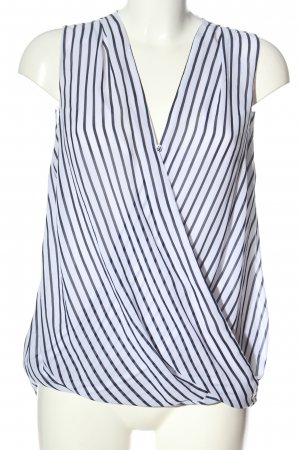 H&M ärmellose Bluse hellgrau-weiß Streifenmuster Casual-Look