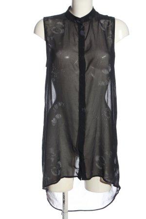 H&M ärmellose Bluse schwarz-hellgrau Allover-Druck Elegant