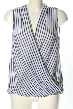 H&M ärmellose Bluse weiß-schwarz Streifenmuster Casual-Look