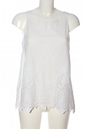H&M ärmellose Bluse weiß Webmuster Casual-Look