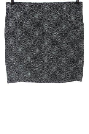 H&M ANGORA BLEND Miniskirt black-white allover print casual look