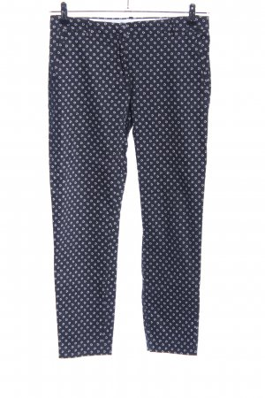 H&M Anzughose blau-weiß Allover-Druck Casual-Look