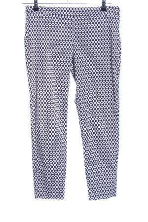H&M Anzughose weiß-schwarz Allover-Druck Casual-Look
