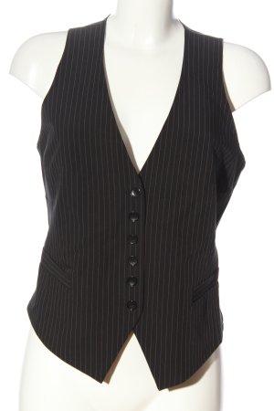 H&M Kamizelka garniturowa czarny Wzór w paski W stylu biznesowym