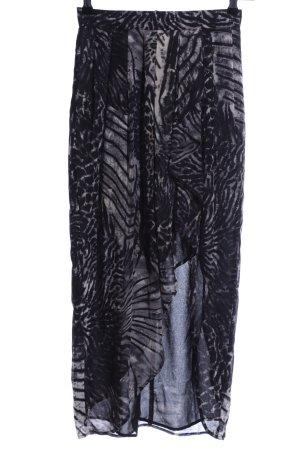 H&M Falda asimétrica negro-gris claro estampado con diseño abstracto