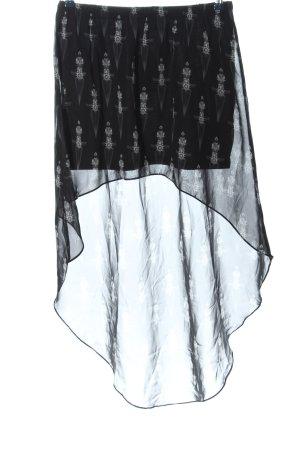 H&M Asymetryczna spódniczka czarny-biały Na całej powierzchni Elegancki
