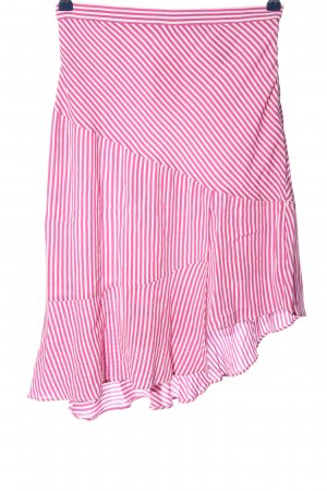 H&M Asymmetry Skirt pink-white striped pattern casual look