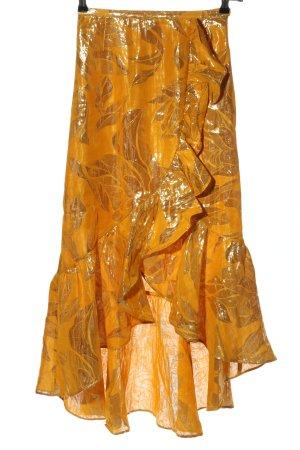 H&M Gonna asimmetrica arancione chiaro-oro motivo floreale stile casual