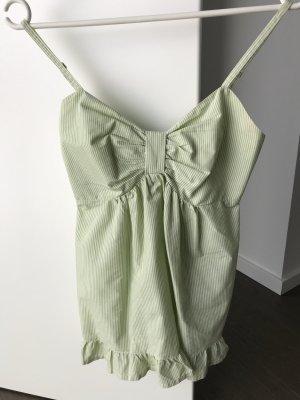 H&M babydoll oberteil Schleife xs gestreift grün weiß