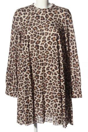 H&M Vestido babydoll crema-marrón estampado repetido sobre toda la superficie