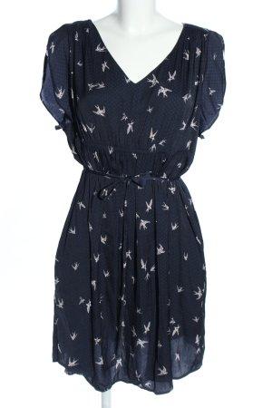 H&M Babydollkleid blau-wollweiß Allover-Druck Casual-Look