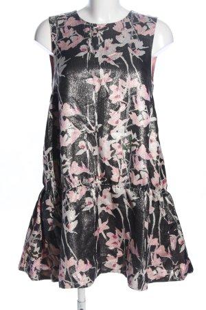 H&M Vestido babydoll negro-rosa estampado repetido sobre toda la superficie
