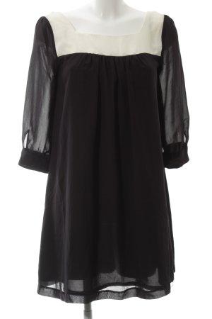 H&M Vestido babydoll negro-blanco elegante