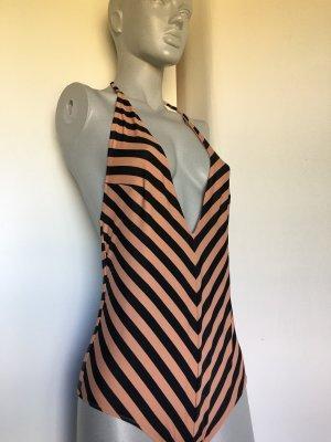 H&M Badeanzug gestreift streifen schwarz nude tiefer Ausschnitt neckholder Blogger 38