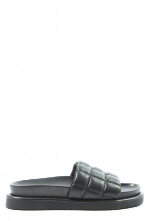 H&M Badeslipper schwarz Steppmuster Casual-Look