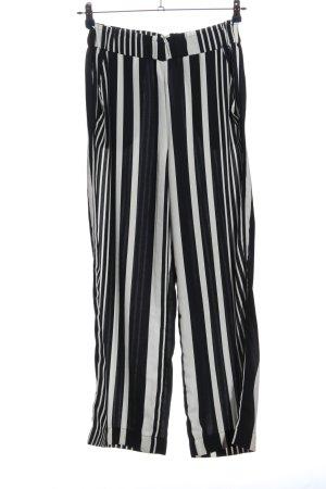 H&M Baggy Pants schwarz-weiß Streifenmuster Casual-Look
