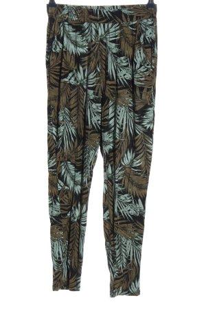 H&M Baggy Pants braun-türkis Allover-Druck Casual-Look