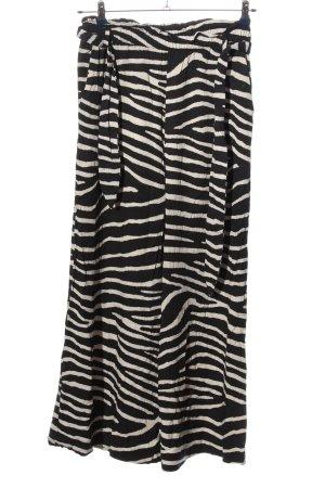 H&M Baggy broek zwart-wolwit dierenprint casual uitstraling