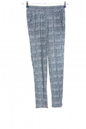 H&M Baggy Pants blau-weiß grafisches Muster Casual-Look